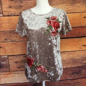 Crushed Velvet Floral Rose Embroidered Shirt